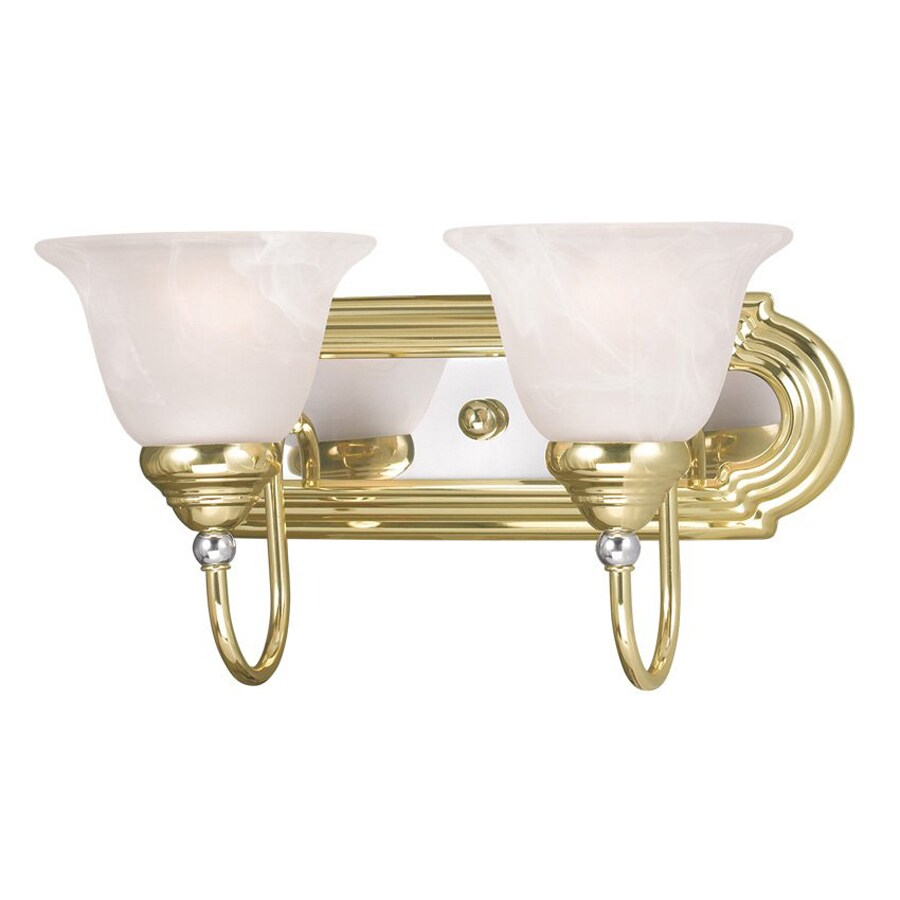 Vanity Lighting Polished Brass : Shop Livex Lighting 2-Light Belmont Polished Brass and Chrome Bathroom Vanity Light at Lowes.com