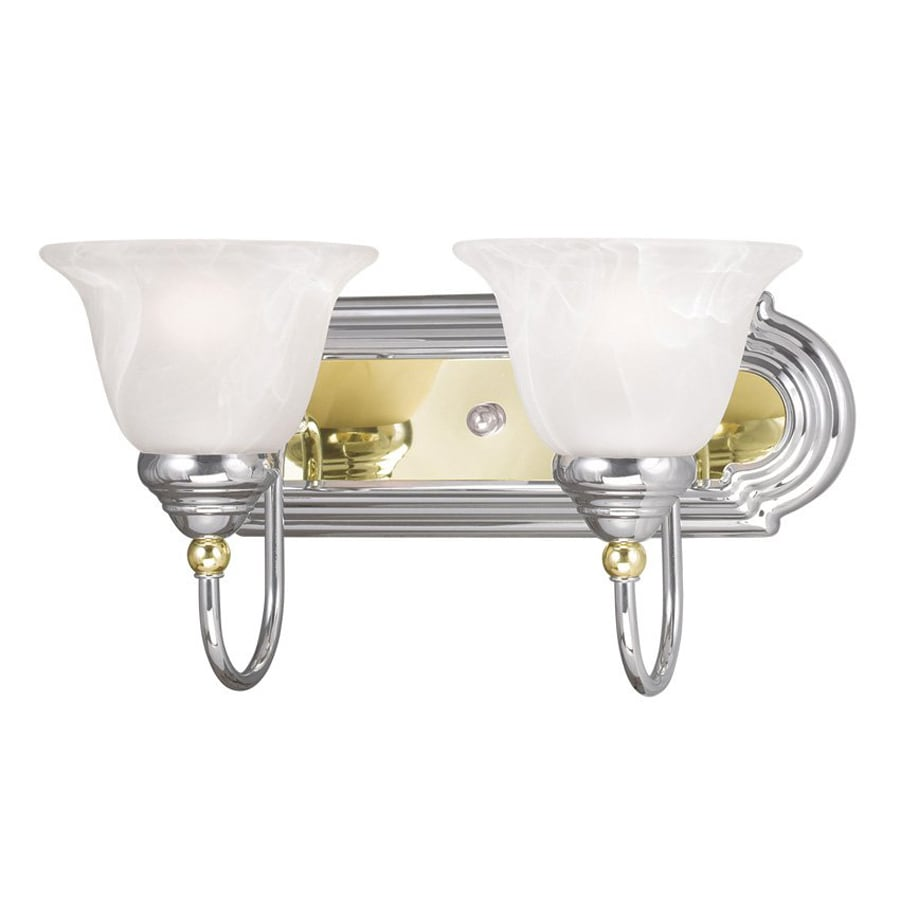 Shop Livex Lighting 2-Light Belmont Chrome with Polished Brass Bathroom Vanity Light at Lowes.com