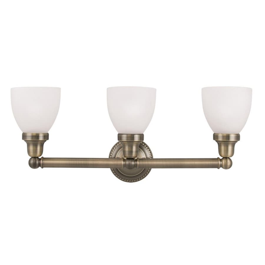 Shop livex lighting 3 light classic antique brass bathroom for Bathroom vanity lights