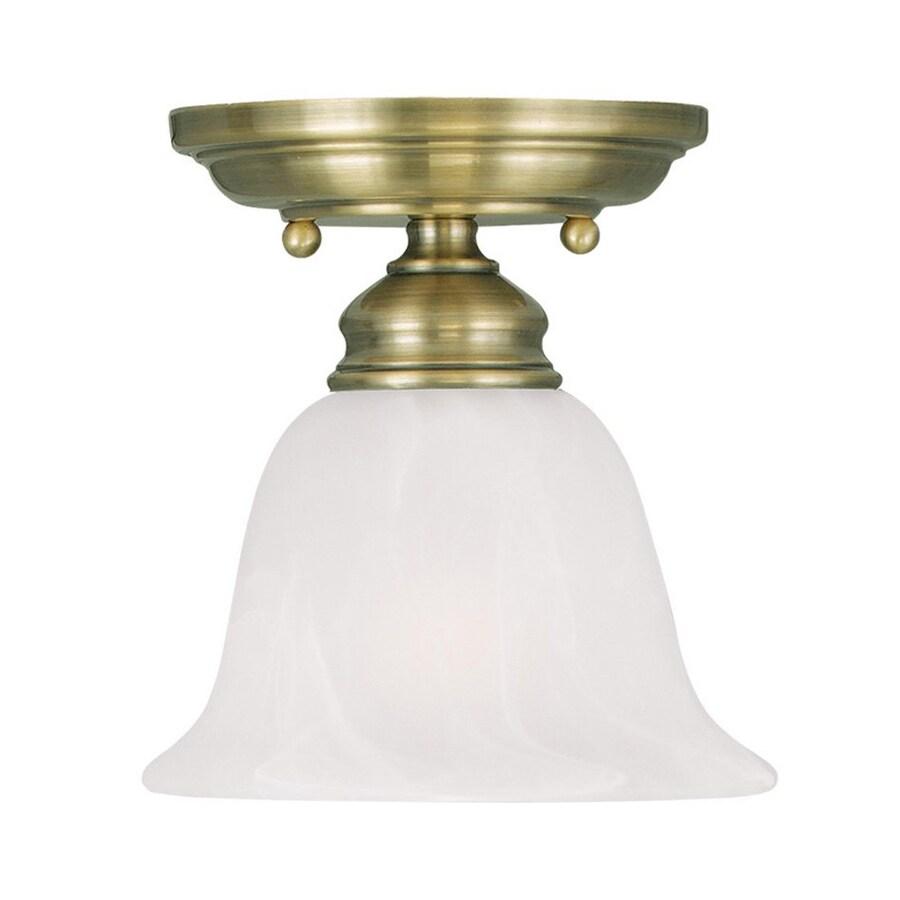 Livex Lighting Coronado 6.25-in W Antique Brass Alabaster Glass Semi-Flush Mount Light