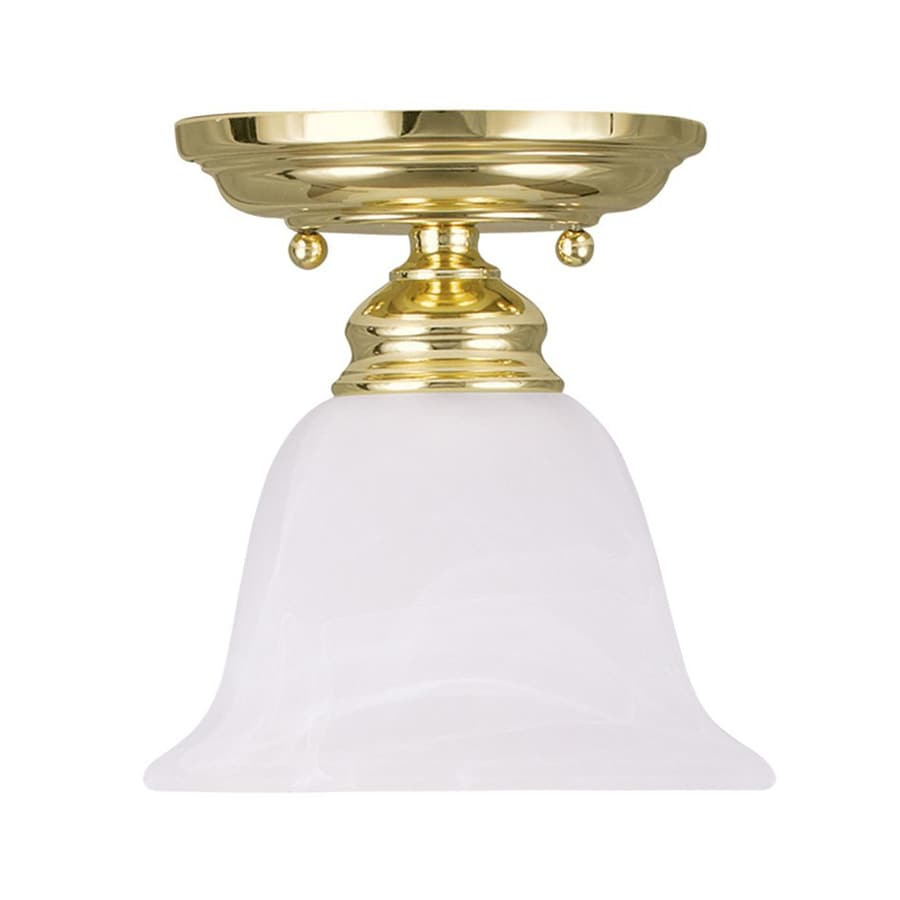 Livex Lighting Essex 6.25-in W Polished Brass Alabaster Glass Semi-Flush Mount Light