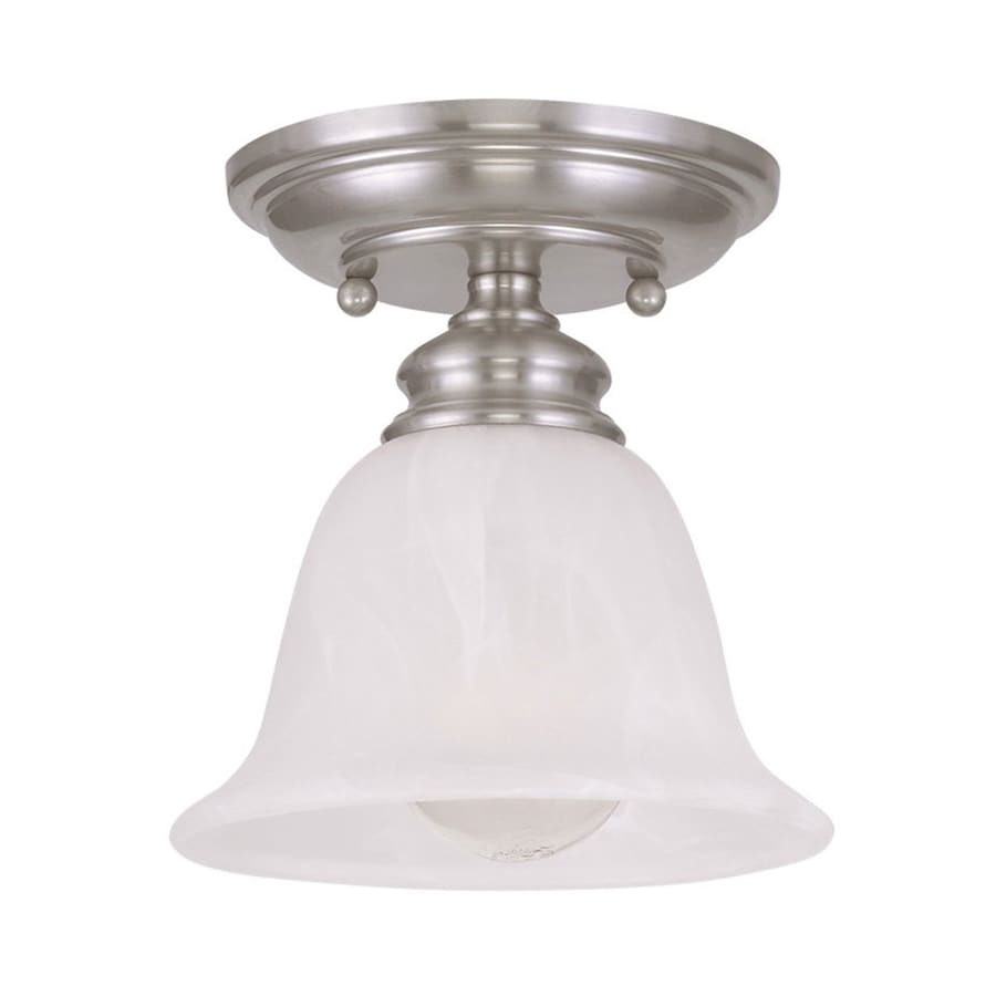 Livex Lighting Essex 6.25-in W Brushed Nickel Alabaster Glass Semi-Flush Mount Light