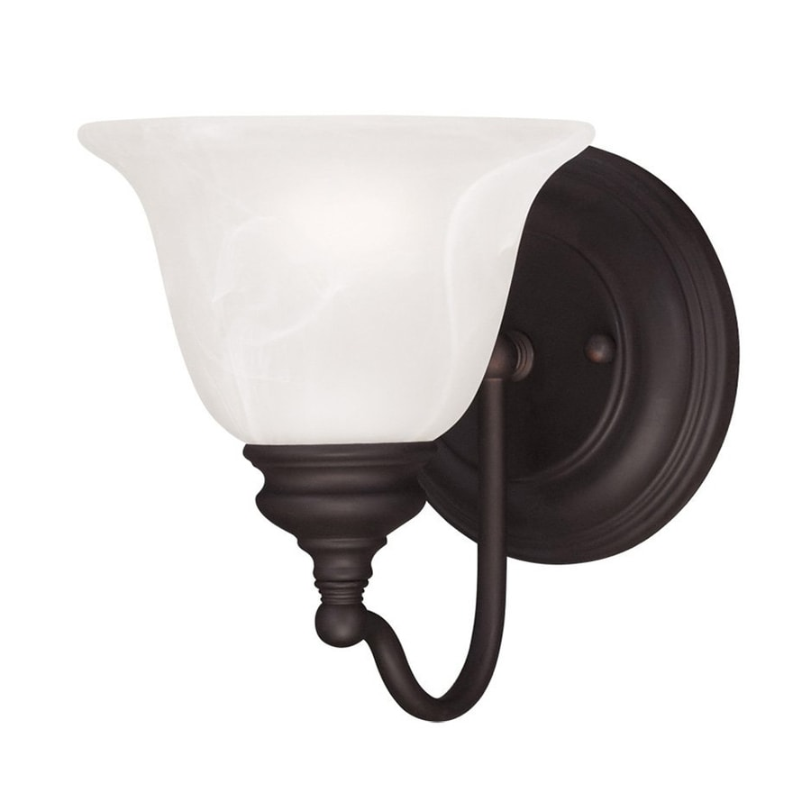 Wall Sconces Hardwired : Shop Livex Lighting Essex 6.25-in W 1-Light Bronze Arm Hardwired Wall Sconce at Lowes.com