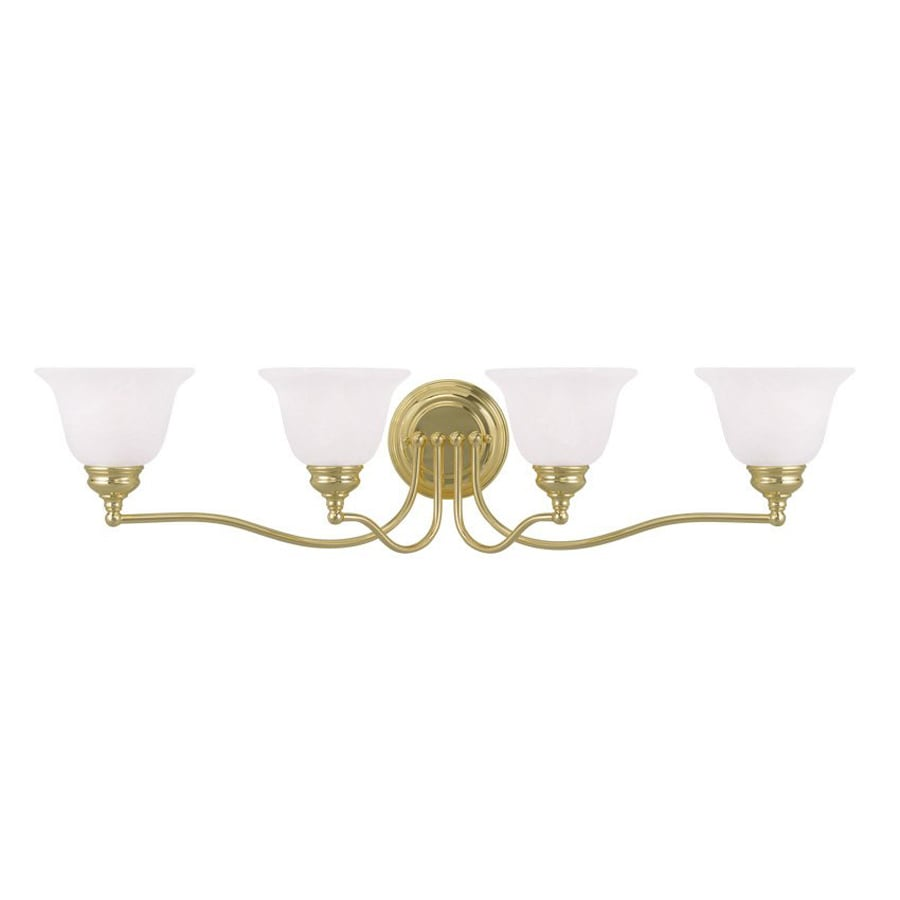 Livex Lighting Essex 32-in W 4-Light Polished Brass Arm Hardwired Wall Sconce