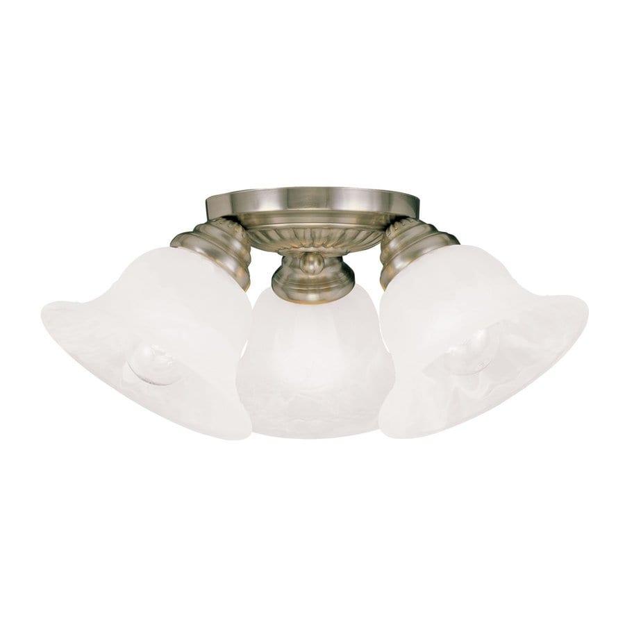 Livex Lighting Essex 14.75-in W Antique Brass Alabaster Glass Semi-Flush Mount Light