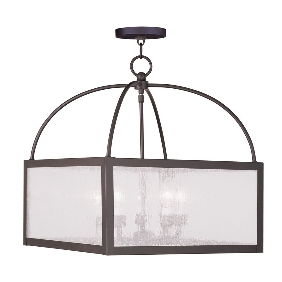 Livex Lighting Milford 17.5-in Bronze Rustic Single Seeded Glass Square Pendant