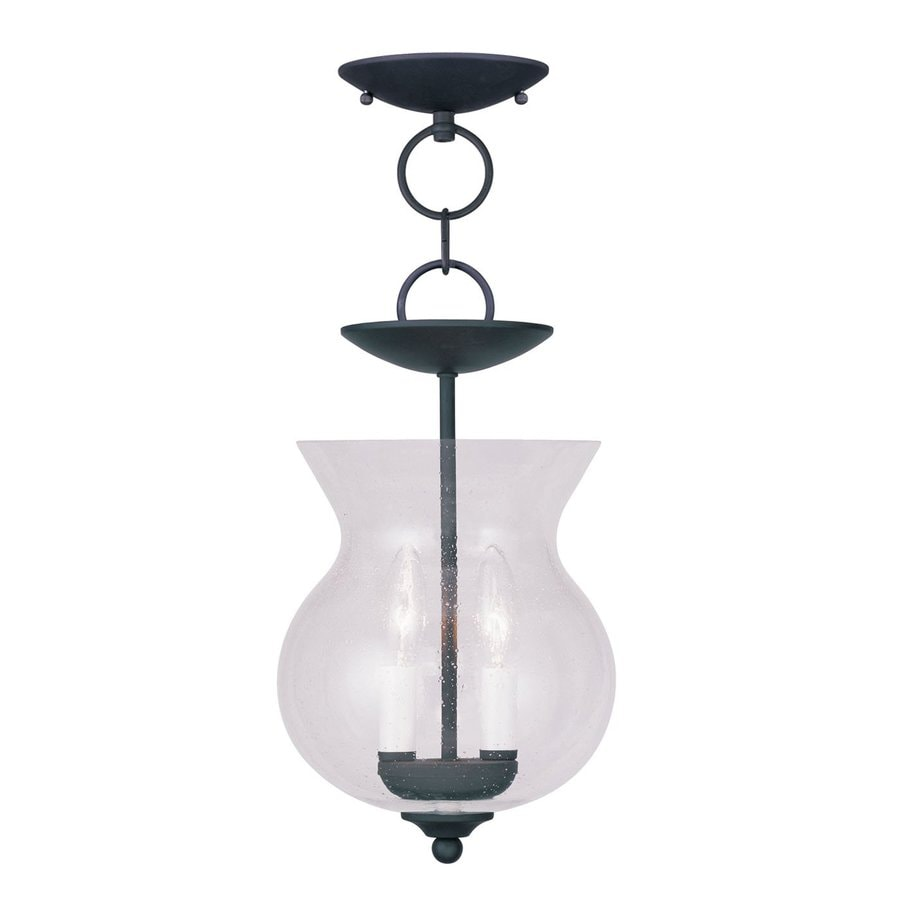 Livex Lighting Legacy 8.25-in Black Vintage Mini Seeded Glass Urn Pendant