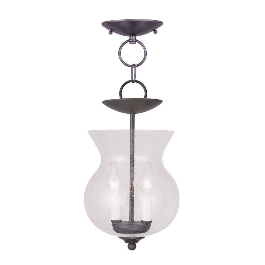Livex Lighting Legacy 8.25-in Bronze Vintage Mini Seeded Glass Urn Pendant
