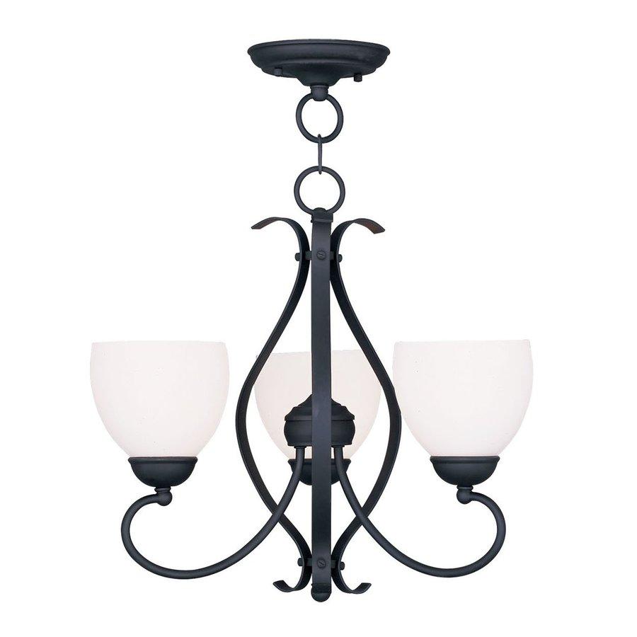 Livex Lighting Brookside 20-in 3-Light Black Wrought Iron Shaded Chandelier