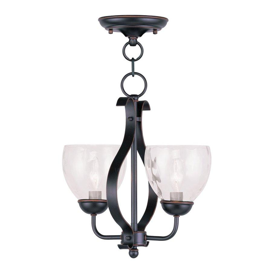 Livex Lighting Brookside 13-in Olde Bronze Single Clear Glass Pendant