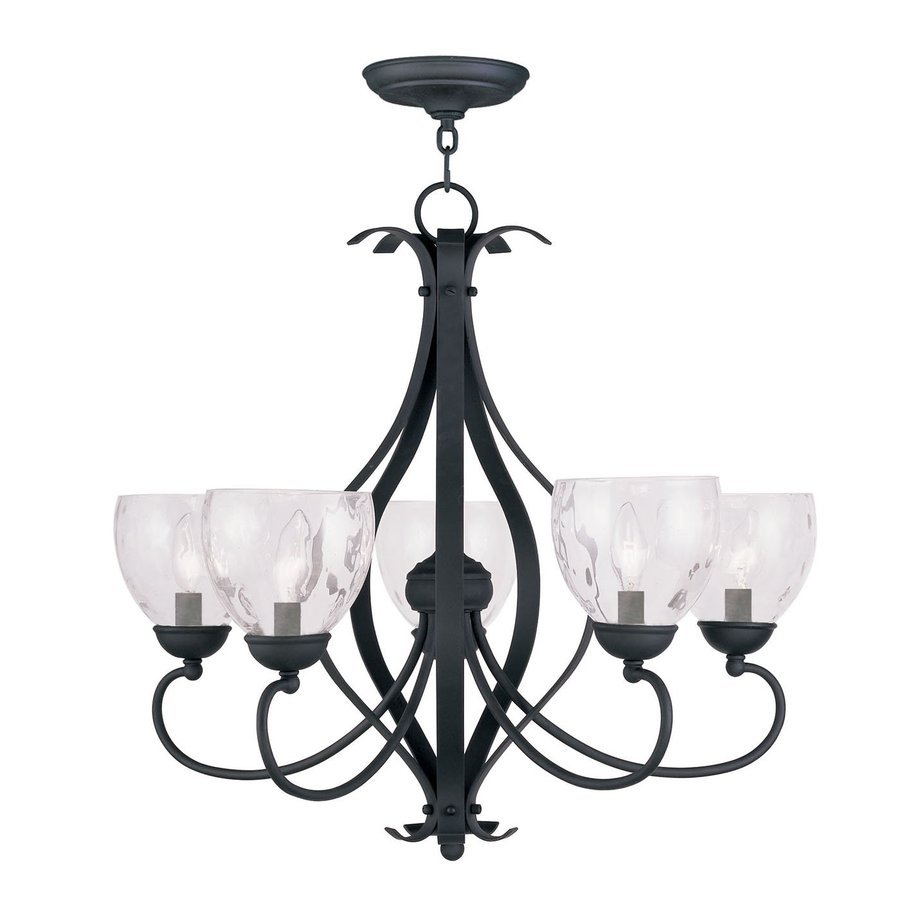 Livex Lighting Brookside 26-in 5-Light Black Wrought Iron Clear Glass Shaded Chandelier