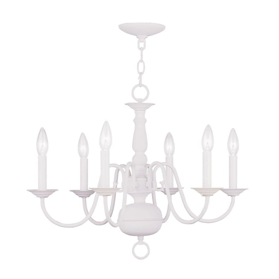 Livex Lighting Williamsburg 24-in 6-Light White Country Cottage Candle Chandelier