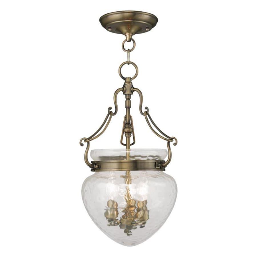 Livex Lighting Duchess 10-in Antique Brass Vintage Single Textured Glass Acorn Pendant