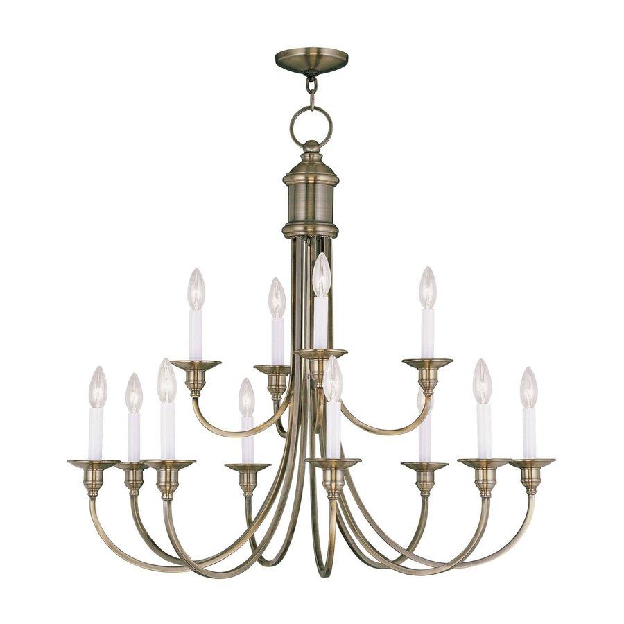Livex Lighting Cranford 34-in 12-Light Antique Brass Candle Chandelier