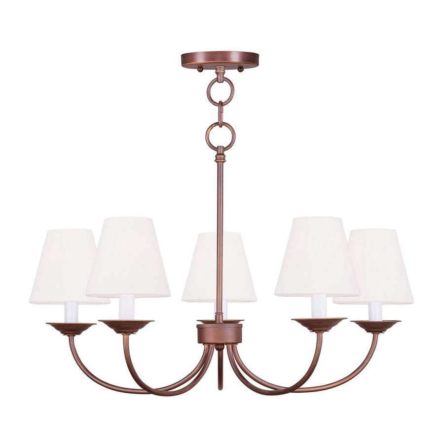 Livex Lighting Mendham 25-in 5-Light Vintage Bronze Shaded Chandelier