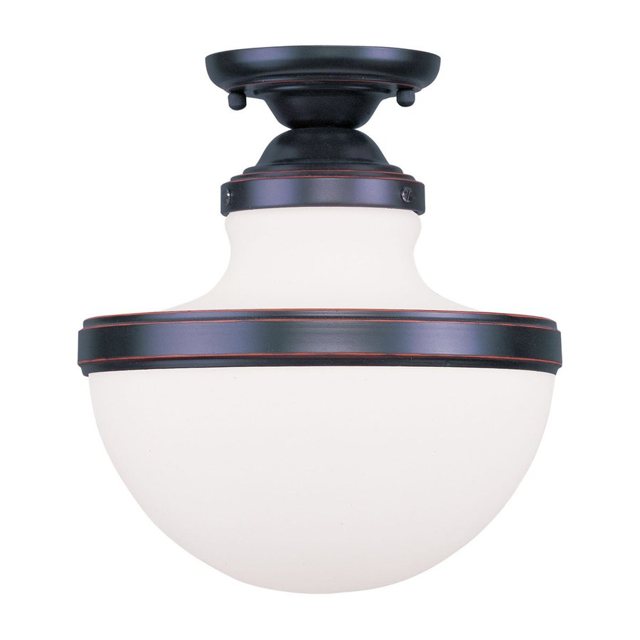 Livex Lighting Oldwick 10.25-in W Olde Bronze Frosted Glass Semi-Flush Mount Light