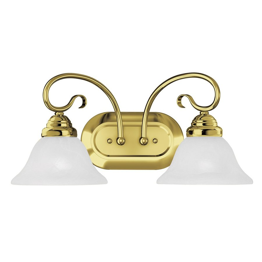 Vanity Lights Brass : Shop Livex Lighting 2-Light Coronado Polished Brass Bathroom Vanity Light at Lowes.com