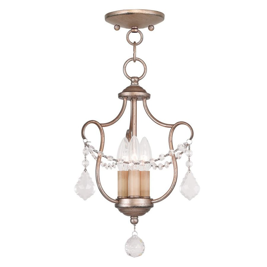 Livex Lighting Chesterfield 10-in W Antique Silver Leaf Shades Semi-Flush Mount Light