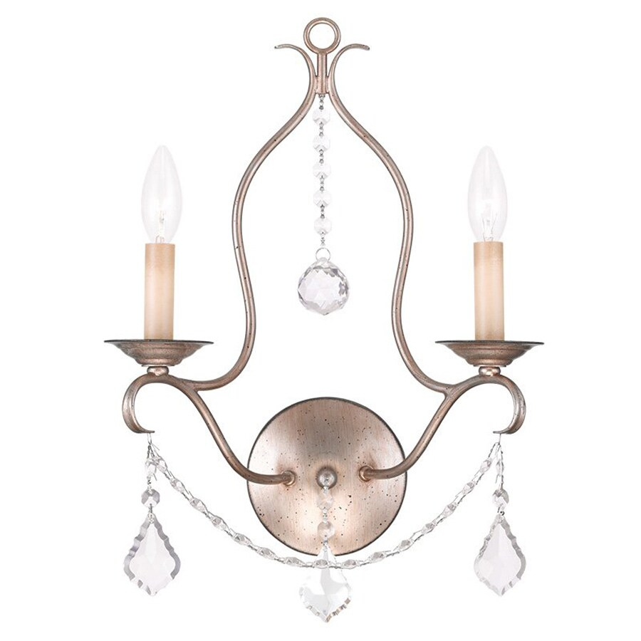 Livex Lighting Chesterfield 12-in W 2-Light Antique Silver Leaf Candle Hardwired Wall Sconce