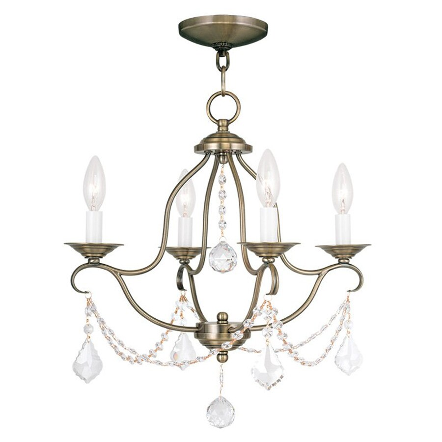 shop livex lighting chesterfield 18 in 4 light antique brass vintage candle chandelier at. Black Bedroom Furniture Sets. Home Design Ideas