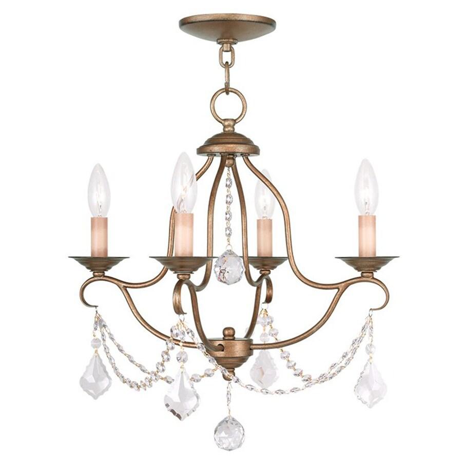 Livex Lighting Chesterfield 18-in 4-Light Antique Gold Leaf Vintage Candle Chandelier