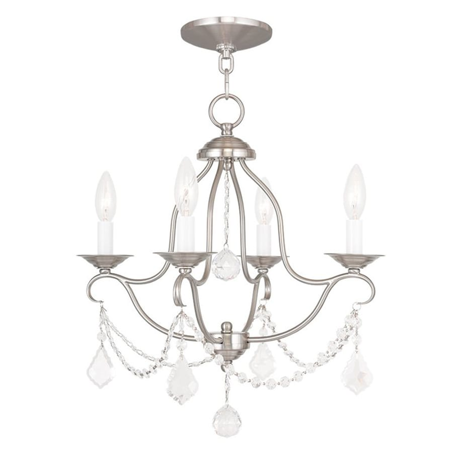 Livex Lighting Chesterfield 18-in 4-Light Brushed Nickel Vintage Candle Chandelier