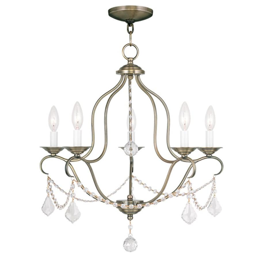 Livex Lighting Chesterfield 22-in 5-Light Antique Brass Vintage Candle Chandelier