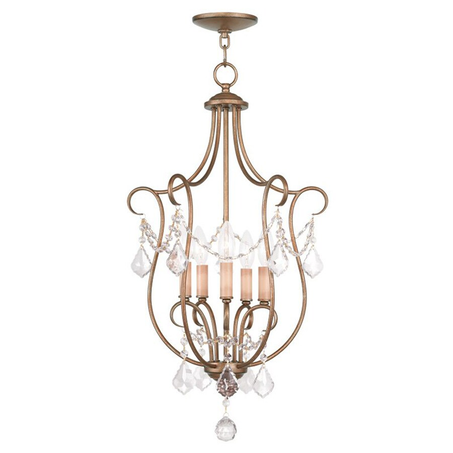 Livex Lighting Chesterfield 16-in W Antique Gold Leaf Shades Semi-Flush Mount Light