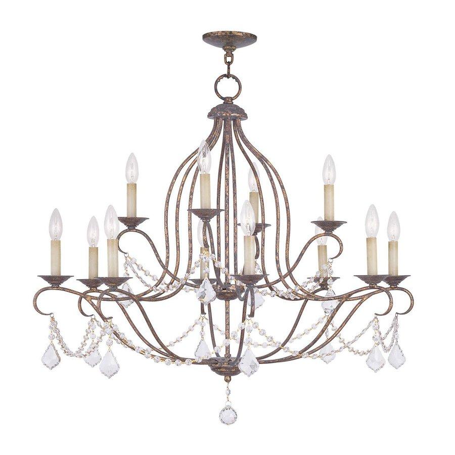 Livex Lighting Chesterfield 34-in 12-Light Venetian Golden Bronze Vintage Tiered Chandelier