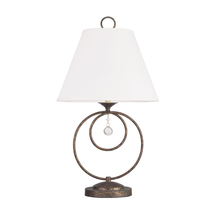 Livex Lighting Chesterfield 29-in Venetian Golden Bronze Crystal Accent Indoor Table Lamp with Fabric Shade
