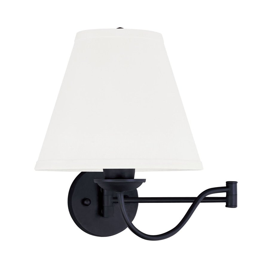 Livex Lighting Ridgedale 10-in W 1-Light Black Swing Arm Hardwired Wall Sconce