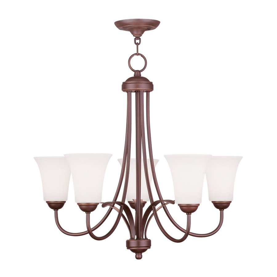Livex Lighting Ridgedale 25.5-in 5-Light Vintage Bronze Shaded Chandelier