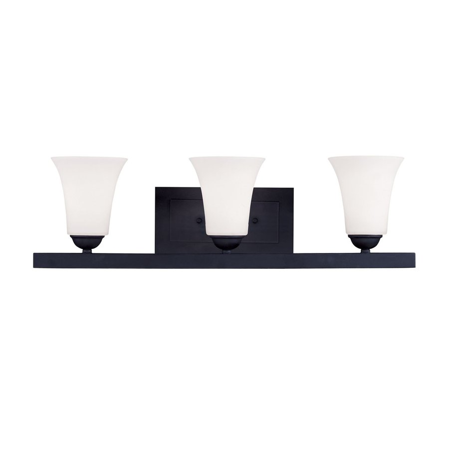 Livex Lighting Ridgedale 25.25-in W 3-Light Black Pocket Hardwired Wall Sconce
