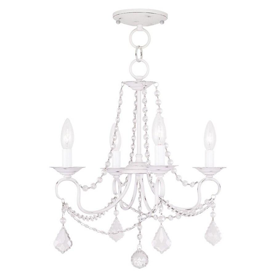Livex Lighting Pennington 18-in 4-Light Antique White Vintage Candle Chandelier