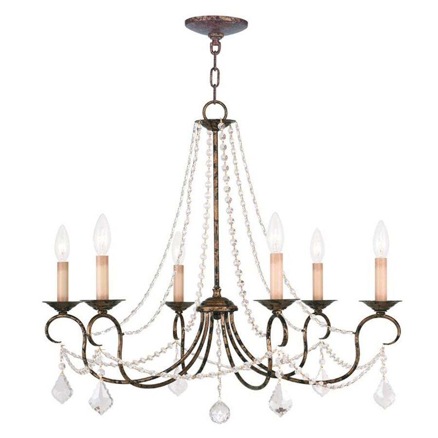 Livex Lighting Pennington 28-in 6-Light Venetian Golden Bronze Vintage Candle Chandelier