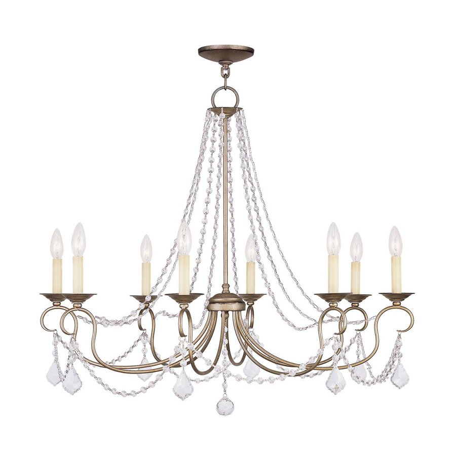 Livex Lighting Pennington 34-in 8-Light Antique Silver Leaf Vintage Candle Chandelier