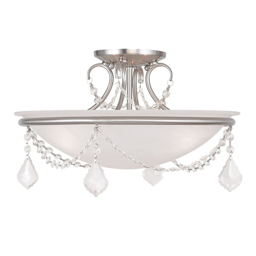 Livex Lighting Chesterfield Pennington 16-in W Brushed Nickel Alabaster Glass Semi-Flush Mount Light