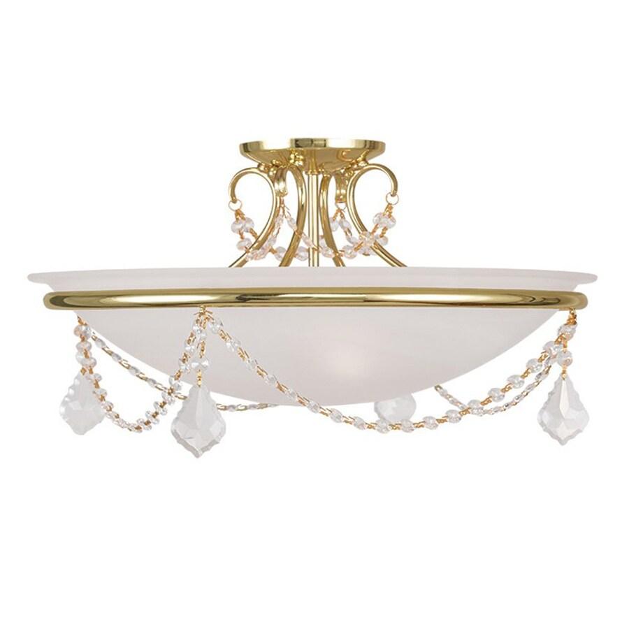 Livex Lighting Chesterfield Pennington 20-in W Polished Brass Alabaster Glass Semi-Flush Mount Light