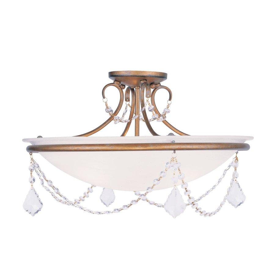 Livex Lighting Chesterfield Pennington 20-in W Antique Gold Leaf Alabaster Glass Semi-Flush Mount Light