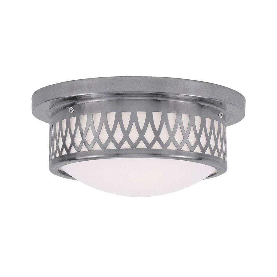 Livex Lighting Westfield 11-in W Brushed Nickel Ceiling Flush Mount Light