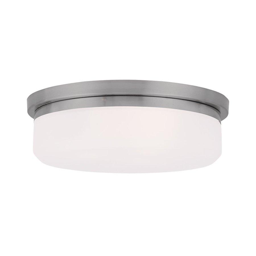 Livex Lighting Stratus 13-in W Brushed Nickel Ceiling Flush Mount Light