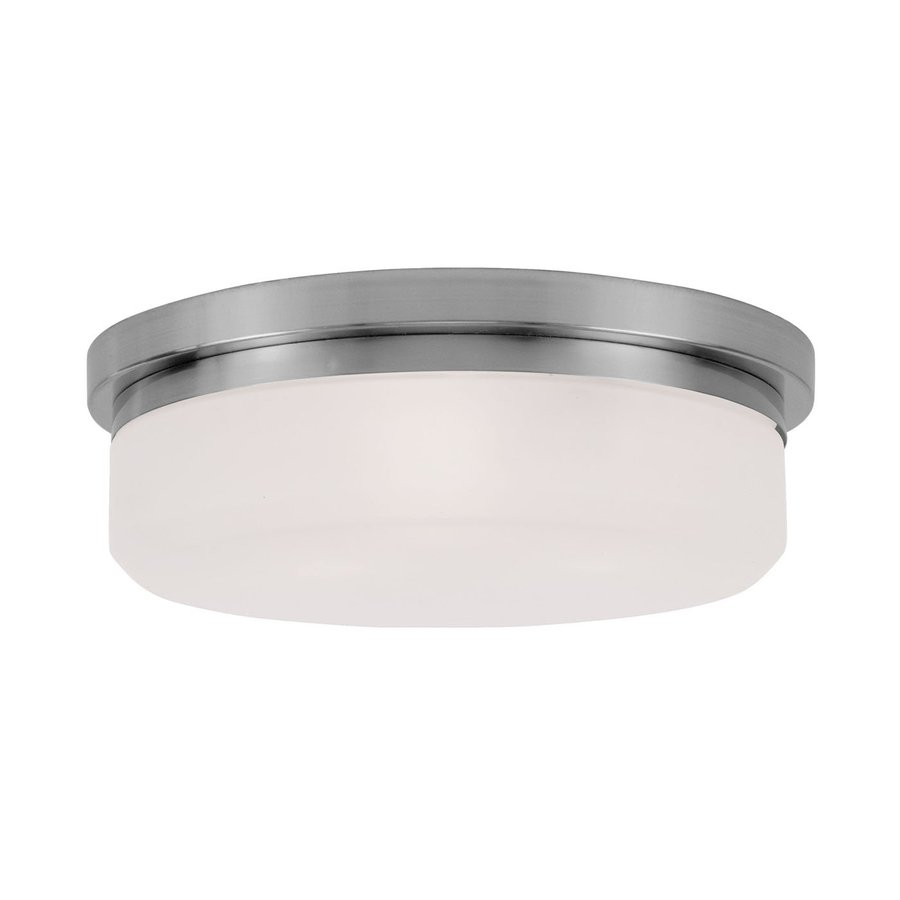 Livex Lighting Stratus 15.5-in W Brushed Nickel Ceiling Flush Mount Light