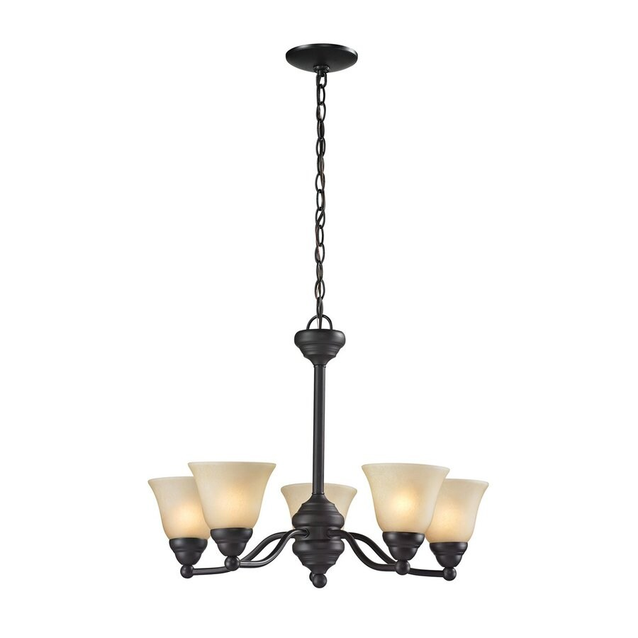 Z-Lite Athena 22.5-in 5-Light Bronze Tinted Glass Shaded Chandelier