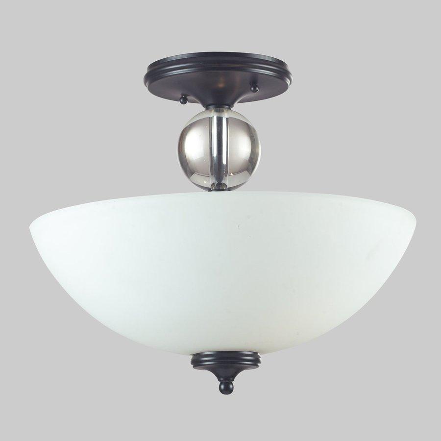 Z-Lite Harmony 15.75-in W Matte Black Alabaster Glass Crystal Accent Semi-Flush Mount Light
