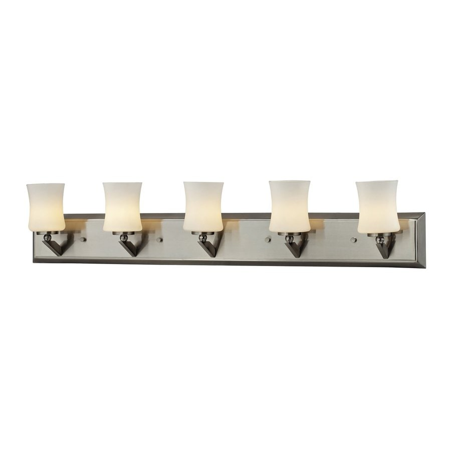 shop z lite 5 light terra brushed nickel bathroom vanity