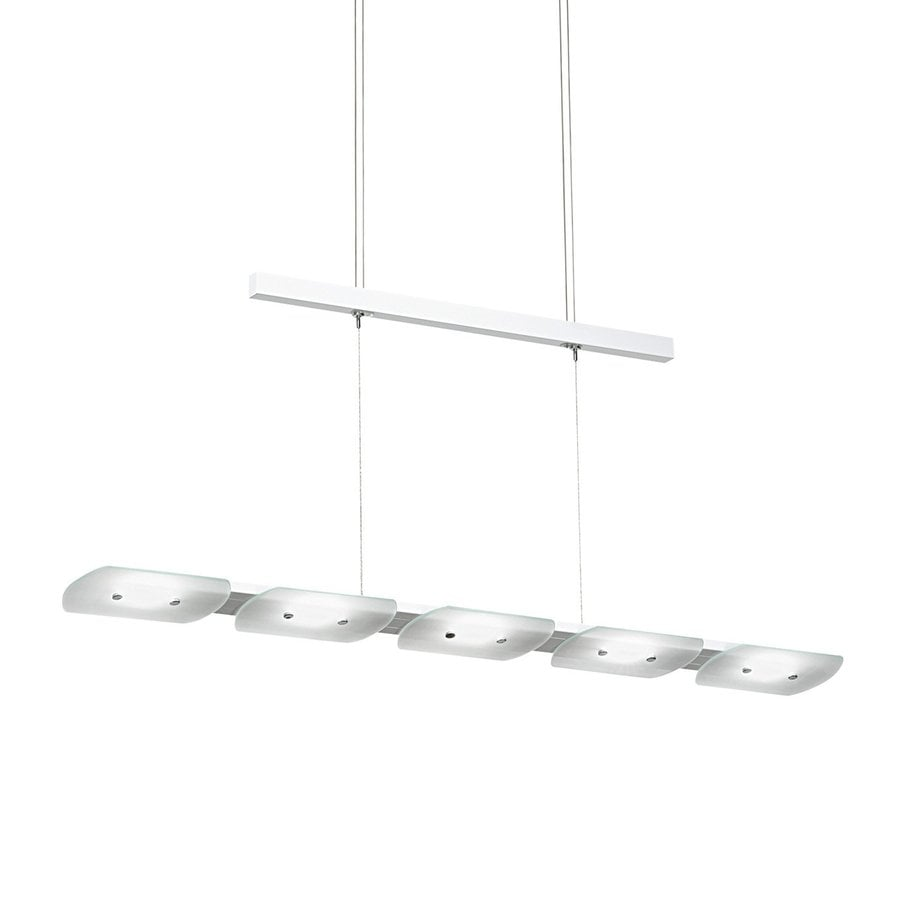EGLO Tight 4.875-in W Gloss White LED Kitchen Island Light with Clear Shade