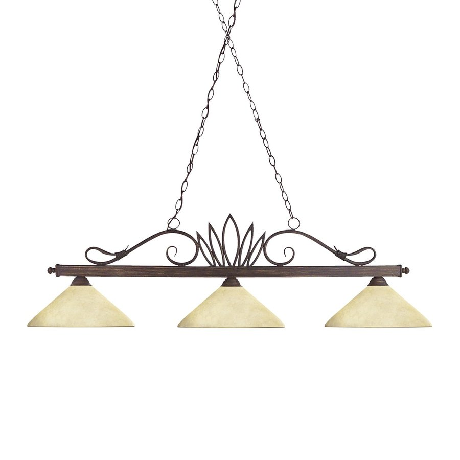 Z-Lite Crown 14-in W 3-Light Weathered Bronze Kitchen Island Light with Tinted Shade
