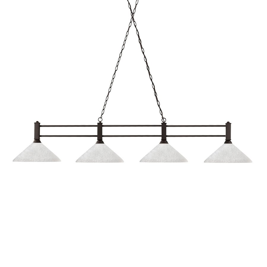 Z-Lite Challenger 14-in W 4-Light Bronze Kitchen Island Light with White Shade