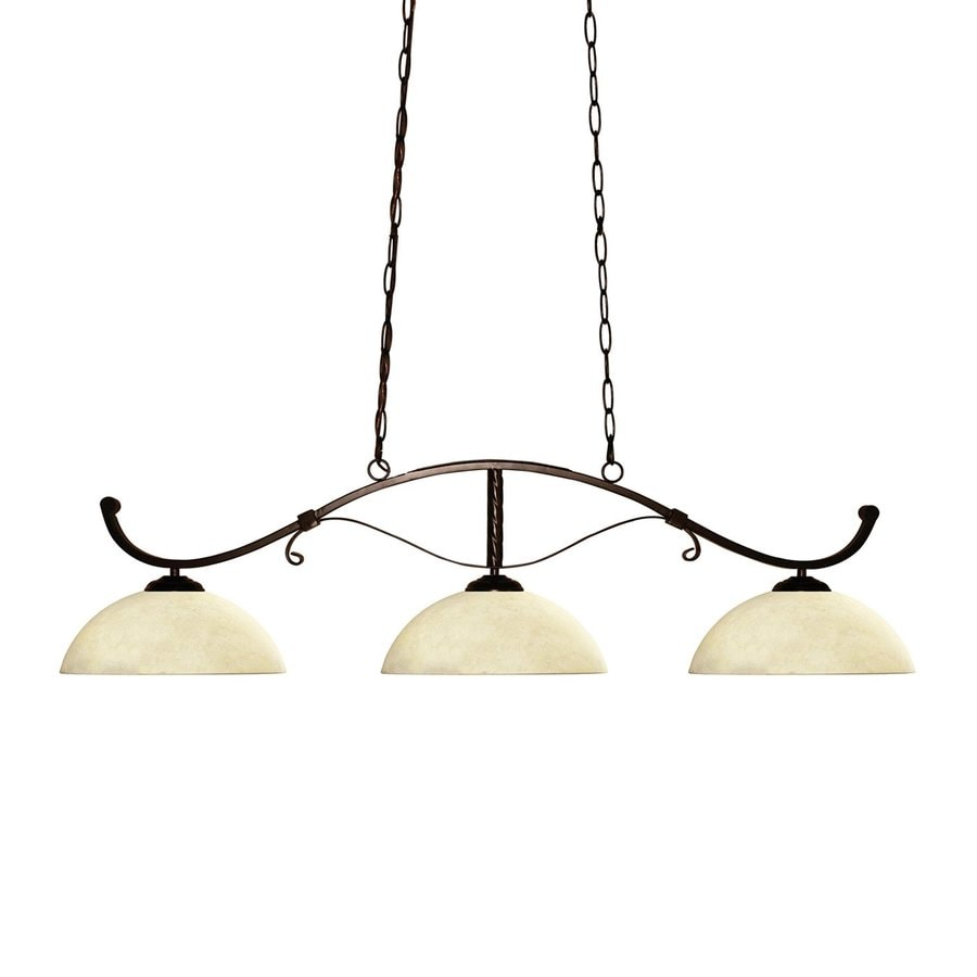 Z-Lite Howler 14-in W 3-Light Bronze Kitchen Island Light with Tinted Shade