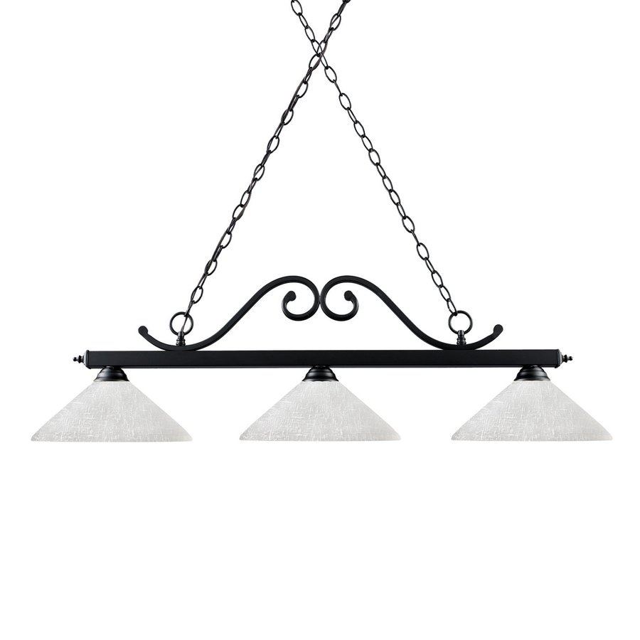 Z-Lite Windsor 14-in W 3-Light Matte Black Kitchen Island Light with White Shade